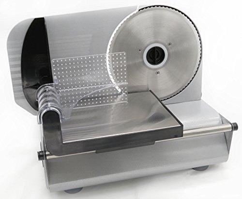 Tarrington House Elektrischer Allesschneider FS 1500 M | Metallgehäuse | Edelstahlmesser | stufenlose Schnittstärke bis ca. 15 mm | 150 Watt | Restehalter mit Fingerschutz