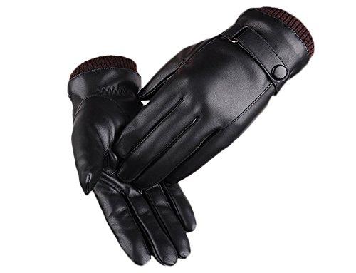 Preisvergleich Produktbild FEE-LICE Herren Motorrad Gloves Touchscreen Outdoor Leder Winter-warme Handschuhe für Gefüttert aus Kaschmir Lederhandschuhe