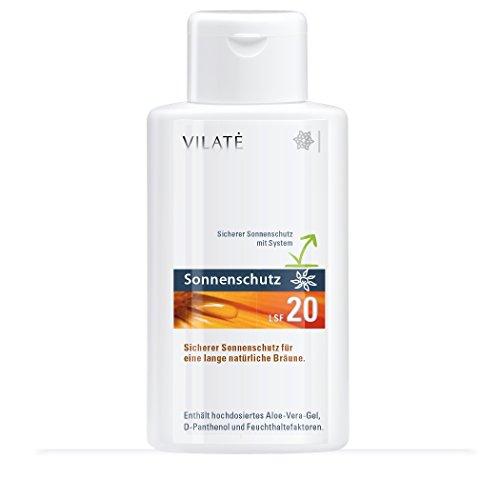 Vilate sicherer Sonnenschutz LSF 20! Mit viel Aloe-Vera Gel. Inhalt 250 ml