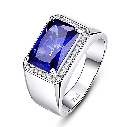 Bonlavie - 925 Sterlingsilber Sterling-Silber 925 emerald shape G-H Saphir (Emerald Herren Ring)