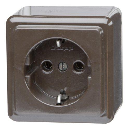 Kopp 101806004 Schutzkontakt-Steckdose 1-fach, Aufputz 16 A, 250 V, braun