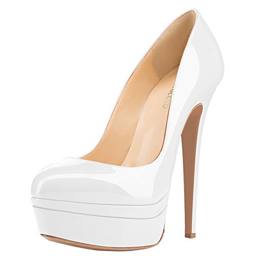 MONICOCO Übergröße Round Toe Mehrfarbig Stiletto Pumps mit Plateau für Party Hochzeit Weiß Lackleder