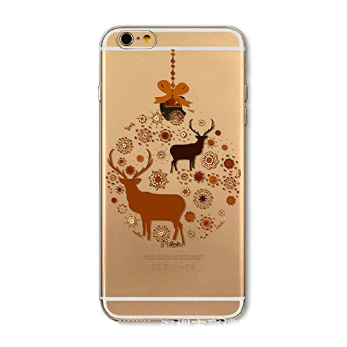 Noël Coque iPhone 6 / iPhone 6s 4.7 inch LifeePro Ultra Mince Transparent Doux TPU Gel Silicone Antichoc Anti-rayures Full Body Étui Housse de Protection Christmas Cover pour iPhone 6 / iPhone 6s 4.7  Reindeer
