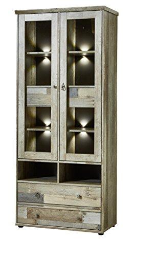 Stella Trading BZDDD01001 Vitrinenschrank Standvitrine Driftwood, Holz, braun, 83 x 189 x 39 cm