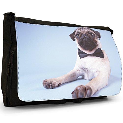 Carlino Pugs Love Little Cani Grande borsa a tracolla Messenger Tela Nera, scuola/Borsa Per Laptop James Pug 007 Black Bow Tie