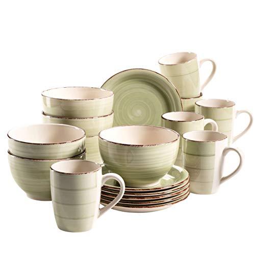 MÄSER 931490 Bel Tempo II Frühstück-Service für 6 Personen im Vintage Look, handbemalte Keramik, 18-teiliges Geschirr-Set, Grün, Steingut Dinner-service-set