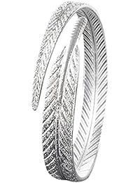 MESE London Bracelet Plumé - Bracelet Avec Manchette Réglable En Argent