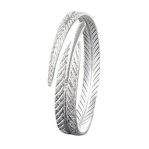 MESE London Brazalete de Plumas Plateado Plata Brazalete Ajustable 'The Pure Soul'