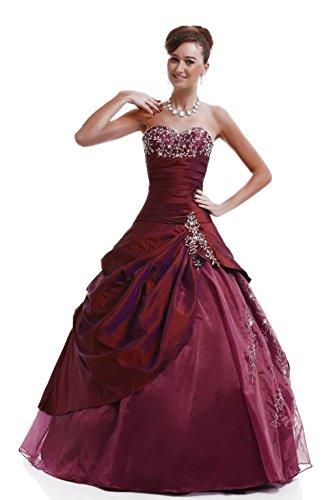 Kmformals Damen Langer Taft Prom BallKleid Quinceanera Kleider Größe 56 Burgund (Burgund Quinceanera Kleid)