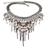 ELECTROPRIME Bohemia Long Tassel Necklace Gypsy Coin Turquoise Statement Necklace Turkish