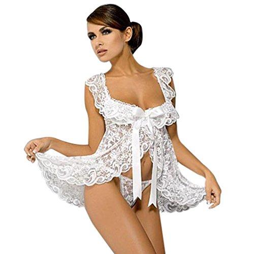Sexy Dessous Frauen Sexy Unterwäsche Nachtwäsche Babydoll Nachtwäsche Pyjamas Spitze Kleid G-String Set (Weiß)