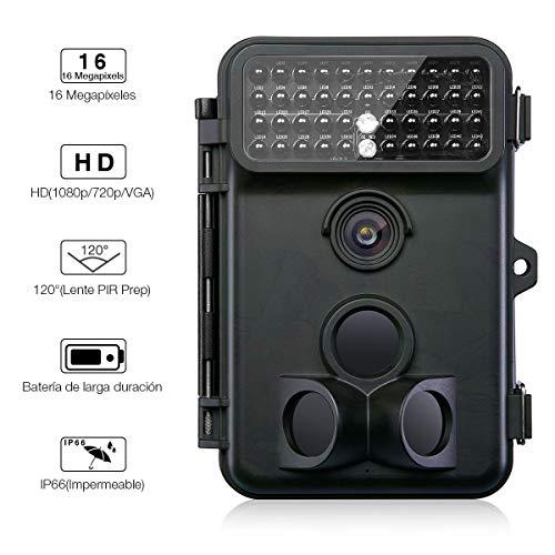 Powerextra Cámara de Caza Vigilancia 16MP Full HD 1080P Angular Amplio de 120° 42pcs IR Leds Visión Nocturna con hasta 20M Monitor LCD de 2.4'' Cámara de Vigilancia IP66 Resistente Intemperie