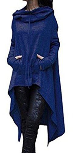 Blansdi Damen Winter Herbst Unregelmäßige Lose Lang Kapuzenpullover Kleider Oversize Langarm Hoodie Sweater Sweatshirt Tops Casual Pullover Oberteile Blau