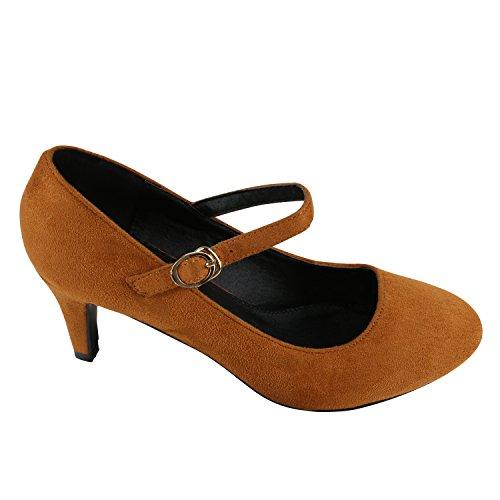 Damen Pumps T-Strap | Blockabsatz High Heels | Damenschuhe Mary Janes | Samt Velours Glitzer | Spangenpumps Lack Leder-Optik Hellbraun Velours