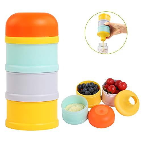 BelleStyle Dosatore per latte in polvere, 3 Pezzi Privo di BPA Impilabile Scatola per Latte in Polvere contenitore spuntino