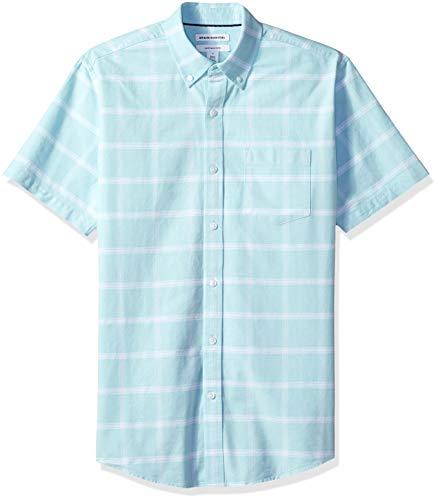 Amazon Essentials Regular-Fit Short-Sleeve Windowpane Pocket Shirt Freizeithemd, Blau (Aqua AQU), US (EU XS) -