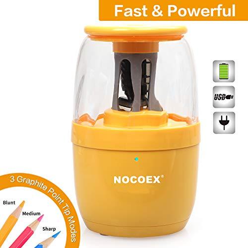NOCOEX Elektrischer Bleistiftspitzer, Auto-Stop-Funktion und Hochleistungsspirale Schraubenförmige Blattschärfen mit USB-Ladekabel für Verschiedene Bleistift, Tragbarer Einsatz in der Schule -