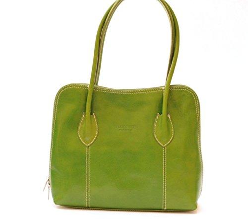 SUPERFLYBAGS Borsa a spalla o a mano in Vera Pelle Liscia e Lucida modello NICE made in Italy verde