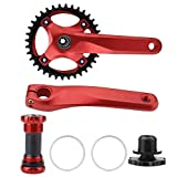 Dioche Kurbelgarnitur, Mountainbike Aluminiumlegierung BCD 104 Kurbelgarnitur Integral Single Speed ​​Kurbelgarnitur(Rot)