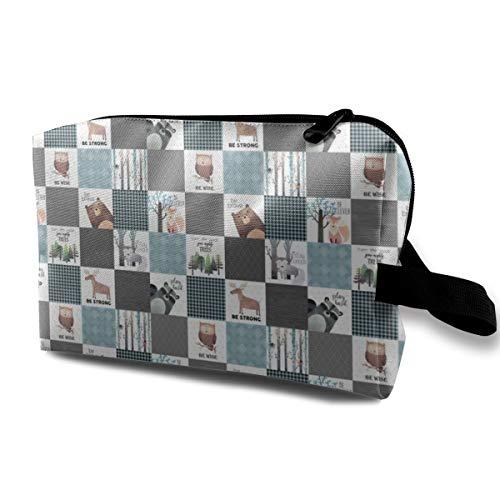 Bear Moose Fox Raccoon Wolf, Grigio U0026 Blu Design portatile da viaggio Trucco Cosmetici Borse organizzatore Borse multifunzione per le donne