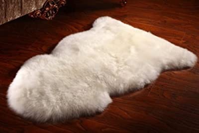 Ivory White XL New Zealand Genuine Natural Sheepskin Fur Rug 60 x 105 cm - inexpensive UK light shop.