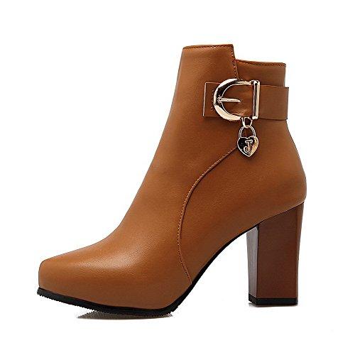 AgooLar Damen Hoher Absatz Niedrig-Spitze Rein Reißverschluss Stiefel mit Anhänger, Weiß, 37