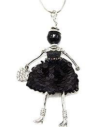 f5f8bba25bfb Oh My Shop SP829D - Sautoir Collier Pendentif Poupée Articulée Robe Perles  et Sequins Noir avec