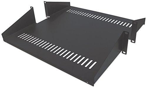 """intellinet 19"""" 48,3 cm zweiseitiger Fachboden für Laborgestelle 2 HE 19 Zoll schwarz 714877"""