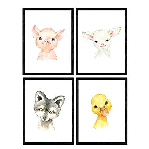 Pack de Cuatro láminas con Ilustraciones de Animales. Posters con imágenes Infantiles...
