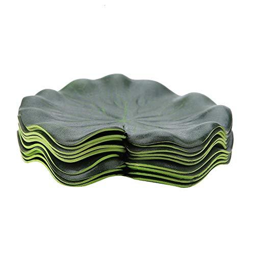 FTVOGUE Künstliche schwimmende Lotusblätter Wasserpflanzen Aquarium Wasserlandschaft Dekoration 10 Stück
