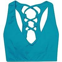 Sujetador de Yoga Color Caramelo Belleza Espalda Sujetador Cruzado Vendaje Fitness a Prueba de Golpes se reúnen elástico para Las Mujeres Sujetador Deportivo Ajustable (Color : Azul, tamaño : XL)