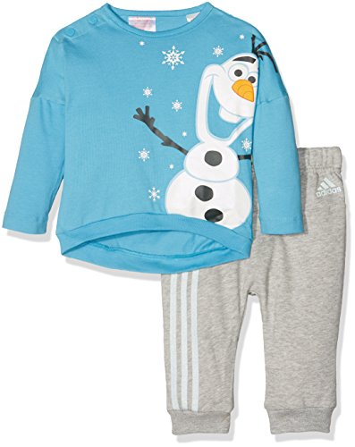 adidas Mädchen Disney Olaf Trainingsanzug, Top:Vapour Blue F16/White/Eqt Orange S16 Bottom:Medium Grey Heather/Ice Mint F16, 98 (Adidas French Terry-set)