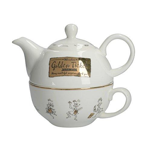 Creative Tops 5233340 - Juego de té para uno, color dorado y blanco