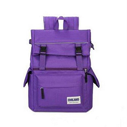 tela tempo libero Maschio / femmina zaino impermeabile indossare Grande capacità piega zaino 20-35L Può mettere A4 Libri ipad Moda ogni giorno , red purple
