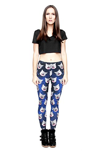 Femmes Mesdames Leggings Longueur complet extensible Collants Pantalon pour ne pas voir à travers Fitness Yoga Running Hipster UK 81012 Multicolore - GALAXY GREY CATS