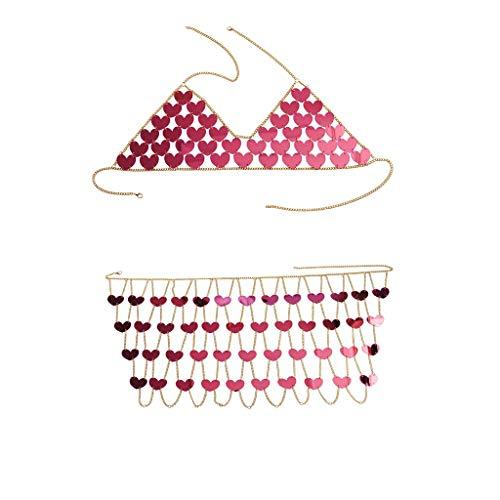 jieGREAT ❄ Damenschmuck ❄ ,Mode Sexy Ausschnitt Liebe glänzende Perlen Rock Körper Kette Halskette Set