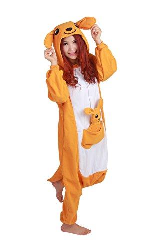 Honeystore -  Pigiama due pezzi  - Stampa animali - Maniche lunghe  - Donna Arancione - Känguruh ohne Schuhe