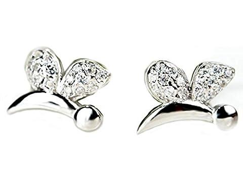 KnSam Women Sterling Silver Stud Earrings Dragonfly White Crystal Rhinestone