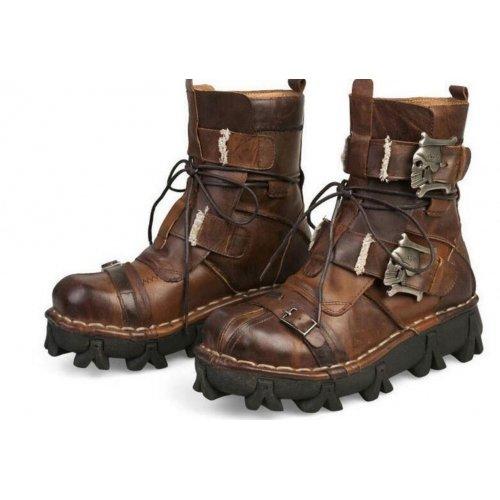 Botte Gothique, Botte Crâne Punk, Botte a lacets, Chaussures en cuir véritable, Chaussures hommes, Botte mode 2016 Marron