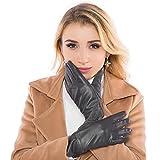 Chanvi; Touchscreen Handschuhe Outdoor Sport Damen Winddicht und Smartphone Handschuhe für Radfahren, Motorradfahren, Wandern und andere Outdoor-Aktivitäten (Leder) (Grau)