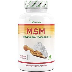 MSM 2000mg pro Tagesdosis – 400 Tabletten – Mit natürlichem Vitamin C (Acerola) – Ohne Zusätze – 6,6 Monate Vorrat – Hochdosiert – Laborgeprüft – Vegan