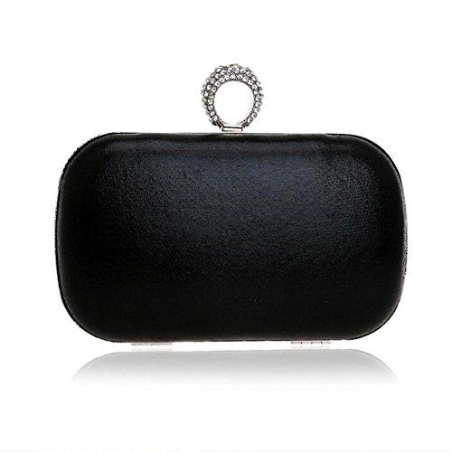 NAOMIIII Frauen-Normallack-Abend-Brautparty Sparkly Hochzeits-Kleine Schulter-Handtasche Black