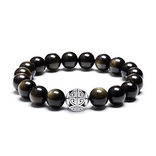 Natürliche 8 mm Edelsteine MetJakt Heilung Crystal Stretch Perlen Armband Armreif mit 925 Sterling Silber Double Happiness Anhänger