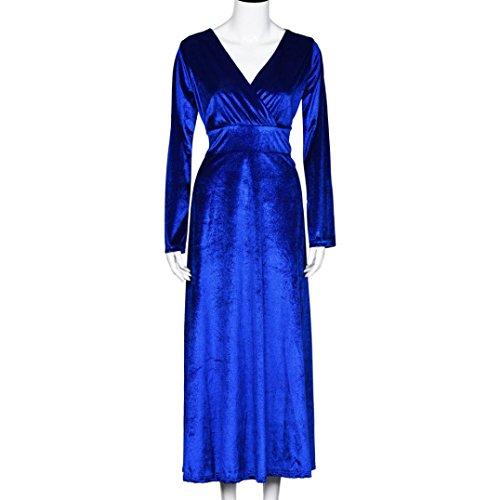 Lolittas Les Femmes Hot Velvet Dress Plus Taille Hiver Cheville Maxi Tuniques Casual Robes Bleu