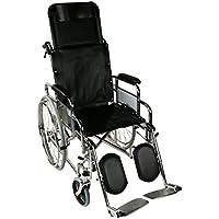 Silla de ruedas plegable y autopropulsable | Modelo Obelisco | Asientos y respaldos ergonómicos | Acero | Peso Máximo soportado 100 kg | Ancho de asiento: 46 cm