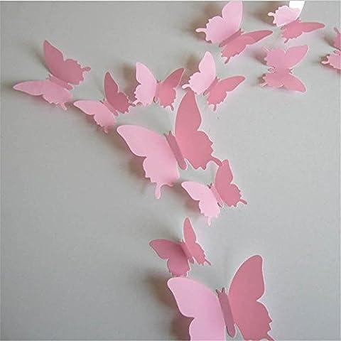 EXIU 12Pcs Stickers Muraux de Papillons 3D DIY Autocollants Décoration