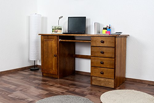 Schreibtisch Kiefer massiv Vollholz Eichefarben 003 - Abmessung 74 x 145 x 55 (H x B x T) (Schreibtisch Eiche Kiefer)