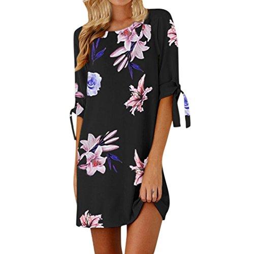 (Damen Kleider, Sunday Sommer Womens Blumendruck Bowknot Ärmel Cocktail Minikleid Casual Party Dress Blau Sommerkleider Elegant Kleid (S, Schwarz))