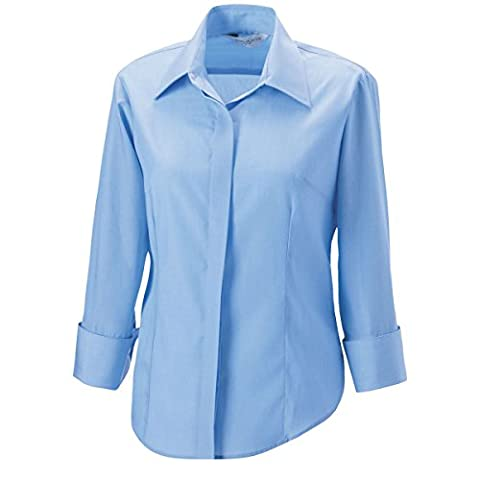 RUSSELL Women's Three Quarter Sleeve Work Shirt (Sizes 8-22) Eco Friendly Formal Corporate Blouse - Bright Sky (Size L)