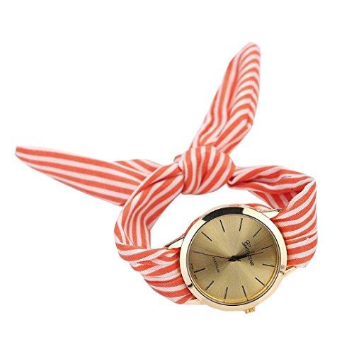 Armbanduhr Damen Uhr Xinnantime Mode Streifen Floralen Stoff Zifferblatt Armband Analoge Quarz Damenuhr Frauen Farbe 3 (Standard, Rot) -